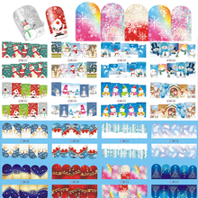 SWEET TREND 1 Sheet Christmas Nail Stickers Snowflake Snowman Nail Art Water Transfer Decals Full Wraps Tattoo Tips LABN205-228