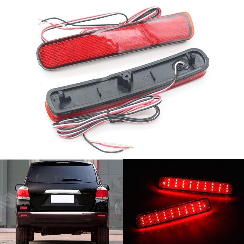 2x LED Car styling Red Rear Bumper Reflector Light Fog Parking Warning Brake Tail Lamp for 2012 2013 2014 Toyota Highlander<br><br>Aliexpress