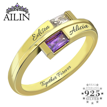 Double Baguette Bypass Ring Engraved Gold Color Name Ring with Birthstone  Promise Gift for Her