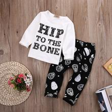 2017 New 2pcs Toddler Boy Clothing Baby Boy Clothes T-shirt Tops + Pants Summer Hip to the bone Casual Outfits Kids Clothing Set(China)