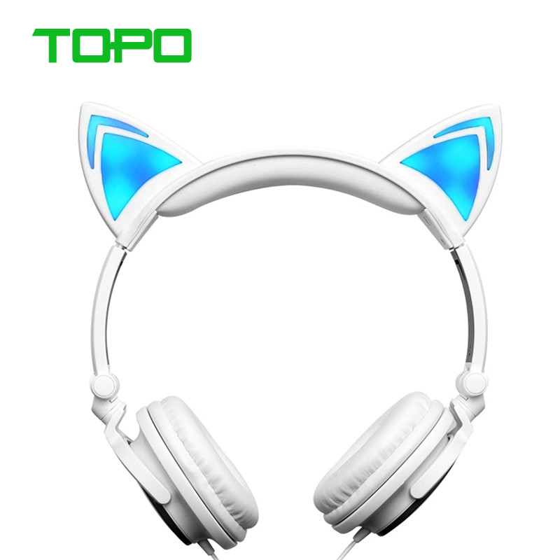 Wired Ear Duds Cat Ear Earphone With Led Glow in the Dark Earphones And Head phones for Mobile Phone PC Headphones For Girls<br><br>Aliexpress