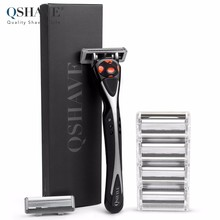 Qshave Black Spider Man Manual Great Shaving Razor Shaver Can Design Your Name on Handle (1pc Handle, 6pc X6 Blade)(China)