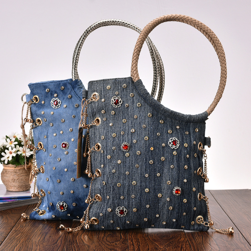 New Vintage Fashion Denim Beads Rhinestone Jeans Women Ladys Shoulder HandBags Evening Bags Tote For Female bolsa feminina<br>