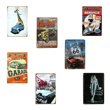 Vintage tin sign ROUTE 66 USA Car Motel Sexy Lady metal painting wall decoration bar pub cafe metal poster