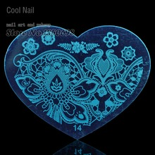 New Heart Shape Nail Art Stamping Template Image Plate Nail Supplies Tool Flower Nail Decor Forests of ferns H14