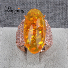 DUOYING Brand Best Selling Gift Fashion Restoring Ring With Yellow Ambar Stones Hollow Rose Gold Color Ambar Ring For Women(China)