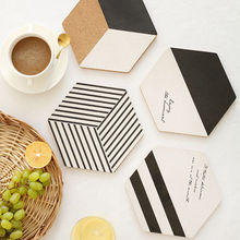 Modern Style Geometry Cork Placemat Coffee Cup Mat Tea Pad Table Decor Heat Insulation Placemats(China)