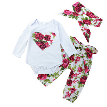 0-24M Cute Newborn Baby Girl Heart Print Floral Clothes Set Long Sleeve Cotton Romper Tops+Long Pant Headband 3PCS Kids Clothing(China)
