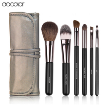 Docolor Make up Brushes  6pcs Set  with leather case With free brush clean  powder foundation eyeshadow eyebrow  lip brushes