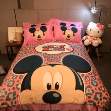 100% cotton Mickey Mouse comforter duvet cover bed bedding set queen king twin kids pink girls cartoon bed sheet linen 3/4/5 pcs(China)