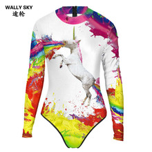Woman Floral Print One Piece Swimsuit Female Long Sleeve Swimwear Women Bathing Suit One-piece Diving Surfing Rashguard Biquini(China)