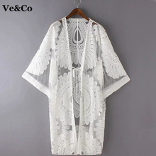 2017 Pareo Beach Cover Up Floral Embroidery Bikini Cover Up Swimwear Women Robe De Plage Beach Cardigan Bathing Suit Cover Ups(China)