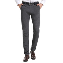 2017 New Fashion SLIM FIT good quality Elastic easy care men business suit Pants two ways stretch casual trousers(China)