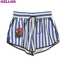 HZLLHX women casual blue Striped Embroidered Rose Shorts women cool polyster silk shorts