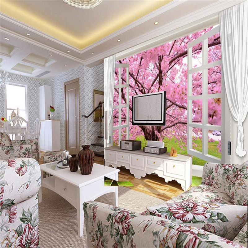 photo wallpaper custom wallpaper Bedroom Living 3D window cherry trees Nature TV backdrop 3d mural wallpaper<br><br>Aliexpress