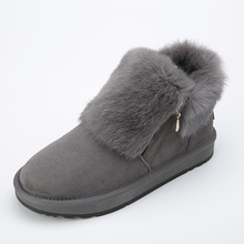 INOE Winter 눈 Boots Womens Grey Ankle Boots Flat 와 Real Rabbit Fur 옷 Winter 숙 녀 암 Boots Shoes Plus size 10 9(China)