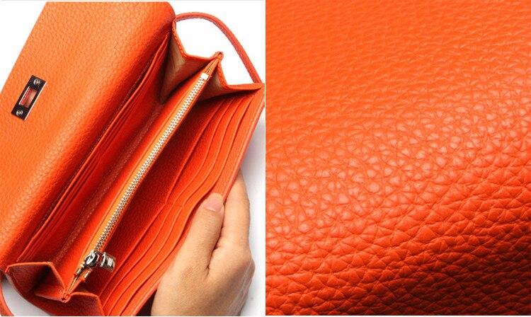 Wanita Panjang Dompet Kulit Asli Tas Tangan Perempuan Busana Padat Coin Pemegang Mewah Kualitas Tinggi Purse untuk Lady wanita dompet