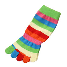 1 Pair Children Socks Girl Boy Hosiery Striped Thickening Warm Toddler Floor Socks Rainbow Kids Toe Socks Random Color(China)