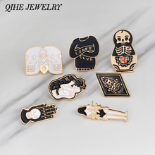 "Enamel pins brooches Skeleton skull ""loner club"" white black pins for Backpacks bag Unisex jewelry Gift for her,Gift for him(China)"