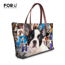 Fashion Designer Women Shoulder Handbag Cute French Bulldog Rottweiler Print Crossbody Bag for Girls High Quality Ladies Tote(China)
