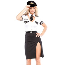 Flight Attention Cut Out Short Sleeves Mile High Service Stewardess Costume Fancy Dress Outfit Mile High Airline Pilot Costume(China)
