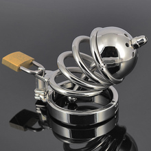 Buy small size short Stainless steel chastity device male cage penis plug Urethral sound tube probe bondage belt sex toy