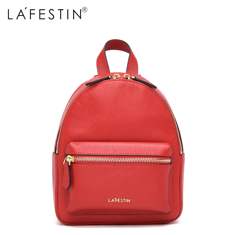 LAFESTIN Leather Backpack Mini Women Canvas Zipper Style Backpack Girls School Bags Genuine Leather Back Backpack Mochilas<br>