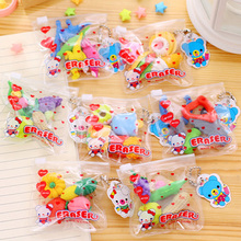 Funy Fashion 3D Food Vegetable Cake Tool Biscuits Animal Rubber Eraser Set For Pencil School Stationery Kids Boys Toys Gift E014
