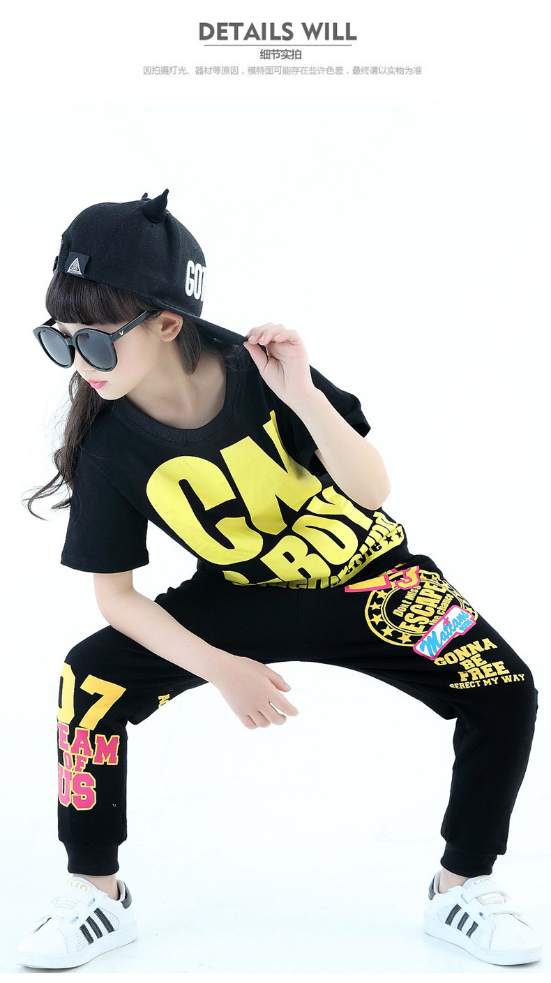 2016 Kids Adults spring Autumn childrens clothing set Costumes Hip Hop dance Pants &amp;  Black Letter T-shirt kids suits twinset<br>
