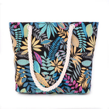 2017 new women canvas flower leaf printing shopping bags Bohemian style high-capacity all-match Beach shopping bag(China)