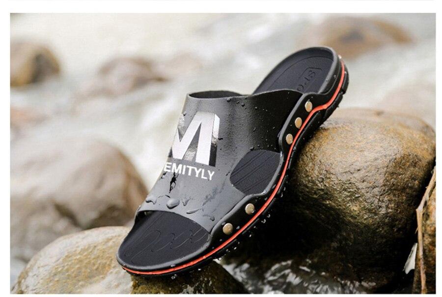 Plus Size Summer Slippers Outdoor Men Casual Sandals Beach Shoes Split Leather Non-Slip Flip Flops Mens Flats Euro 38-45 DR007 18 Online shopping Bangladesh