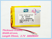 3.7V 3000mAh Lithium Tablet polymer battery for Tablet PC / MID / PDA ( 356595 ) SD356595(China)
