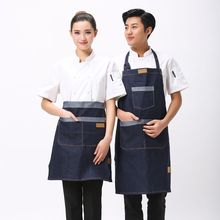 hot Simple Antifouling Kitchen Denim apron for Woman Man Unisex work apron Cooking Restaurant Barista apron Pinafores Tablier