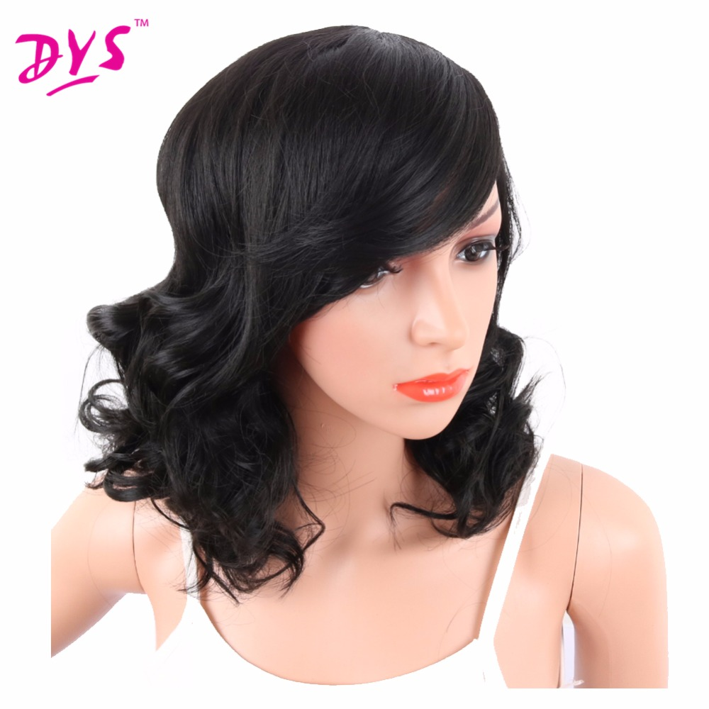Deyngs Big Curly Synthetic Wigs with Bangs Japanese Kanekalon Fiber Heat Resistant Full Wigs for Women Girls Lady Natural Black (2)