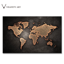 Hot 1PCS Huge Size Map Painting Prints on Canvas Abstract Black World Map Picture For Living Room Wall Art(China)
