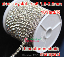 2015 NEW Hot 10 Yard SS6 2mm compact Crystal Silver Glass Strass Rhinestones Cup Chain For Wedding Dress wholesale