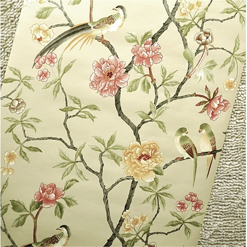 beibehang Birds Trees Flowers Chinoiserie Wallpaper rolls Birds Tree Blossom Statement 3D Wall Paper Roll For Background<br>