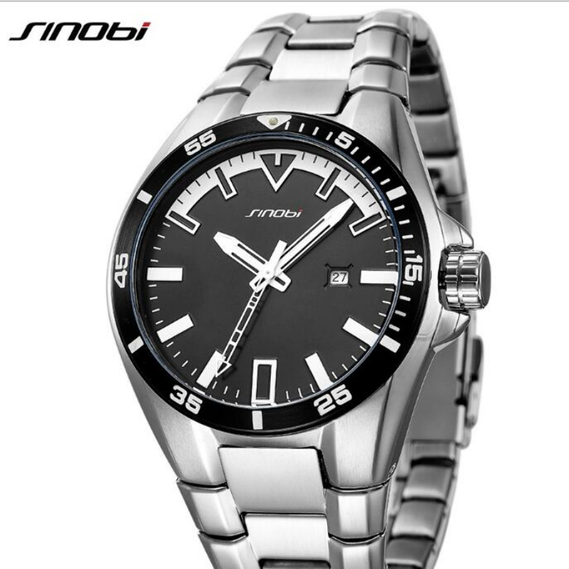 SINOBI Top Brand Luxury Full Steel Wrist Watch Men Watch Waterproof Mens Watch Auto Date Luminous Watches Men Clock saat<br>