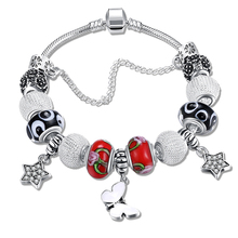 Fashion Charm Bracelet Animal Beads Bracelets & Bangles Women Crystal DIY Jewelry Fashion Star Silver Color Chain Christmas Gift(China)