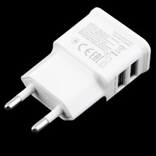 White Universal Portable Easy to Carry 5V 2A Dual USB Port EU Plug AC Wall Charger Travel Adapter For Cellphone Tablet(China)