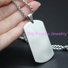 "Ex-factory Price Silver Tone Handsome Mens Dog Tag 316L Stainless Steel Polishing Pendant Necklace Free Box Chain 24"" Long(China)"