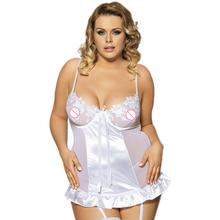 RL7429 Hot sale black and white lace chemise see through 5xl plus size erotic lingerie Strappy underwear 2016 women nightwear