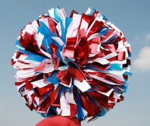 "2Pom pom Cheerleader PLastic blue And Metallic Red 1,000*3/4"" wide streamers 6"" Sizes Custom color 150G DON't Fade"