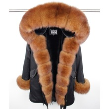 MaoMaoKong natural real fox fur Jacke coat Real Fox Fur Collar Cuff Hooded Coat Short Parka Long Camouflage winter jacket(China)