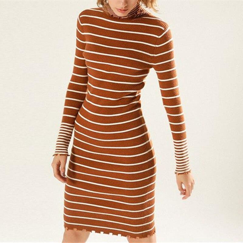 DoreenBow 1PC New Autumn Winter Women Pullover Sweater Dress Female Long Knitted Turtleneck Dress Striped Sheath Fashion DressÎäåæäà è àêñåññóàðû<br><br>