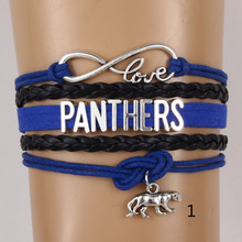 (10pcs/lot) Infinity Love Carolina State Panthers nfl Football Team Fans Bracelet Customize Sport friendship bracelets Jewelry