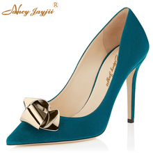Metal Decoration Woman Blue Black Gold Suede Pointed Toe Autumn Pumps Wedding&Party&Office High Heels Fetish Shoes Nancyjayjii
