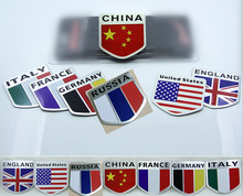 50pcs Discounted 3D Car Sticker Aluminium Alloy Russia America UK Italy France Germany England Flag Car Emblem Styling Badge(China)