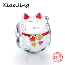 New Arrival silver 925 charms white Cat Animal Enamel beads Fit Authentic Pandora Bracelets Pendant Beads jewelry making Gifts(China)