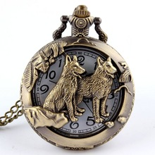 Free shipping Bronze Wolf Hollow Quartz Pocket Watch Necklace Pendant Women Men's Gifts P256